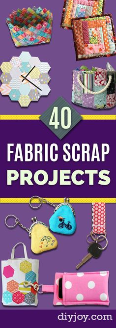 Fabric Scraps Pin - DIY Ideas for Leftover Fabric Scraps - Crafts Using Small Pieces of Fabrics Scrap Fabric Projects, Small Sewing Projects, Sewing Projects For Beginners, Fabric Scraps, Sewing Tutorials, Craft Projects For Adults, Diy Craft Projects, Diy Crafts, Fun Arts And Crafts