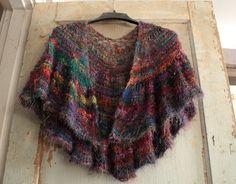 Ravelry: Sari Silk Crescent Shawl pattern by UrbanGypZ Designs UrbanGypZ Helping A Sister Out Sari Silk Yarn Bulky / 12 ply wpi) ? stitches = in garter stitch US 13 - mm 225 - 300 yards - 274 m) Sizes: one size Silk Shawl, Sari Silk, Crochet Shawls And Wraps, Knitted Shawls, Shawl Patterns, Knitting Patterns, Knitting Projects, Crescent Shawl, Textiles