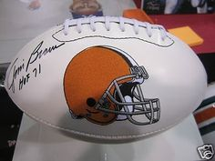 Jim Brown Autographed Ball - Logo - Autographed Footballs by Sports Memorabilia. $333.98. This Cleveland Browns Full Size Logo Football has been hand signed by Jim Brown. The Football will include the photo of Jim Brown signing our footballs and a Certificate of Authenticity from