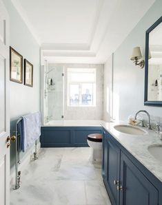 Colors are nice. Mid Sized Transitional Master Tub Shower Combo Photo In London With Recessed Panel Cabinets Blue Cabinets A Drop In Tub White Tile Stone Tile Blue Walls Marble Floors An Undermount Sink And Marble Countertops Simple Bathroom, Modern Bathroom, Bathroom Ideas, Small Bathrooms, Budget Bathroom, Compact Bathroom, Bathroom Hacks, Master Bathrooms, Bathroom Styling