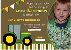 Tractor Party Invites + John Deere Tractor Party Ideas
