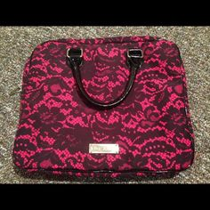 """❗️TODAY ONLY 25❗️Betsey Johnson bag laptop carrier Betsey Johnson femme fatale pink and black laptop carrier. Great condition! Only used once. 14.75"""" Width, 12.5"""" Length, 1.5"""" depth. Fits laptop plus books and/or notebooks. Girly and fun. Price is negotiable, make an offer!  Betsey Johnson Bags"""