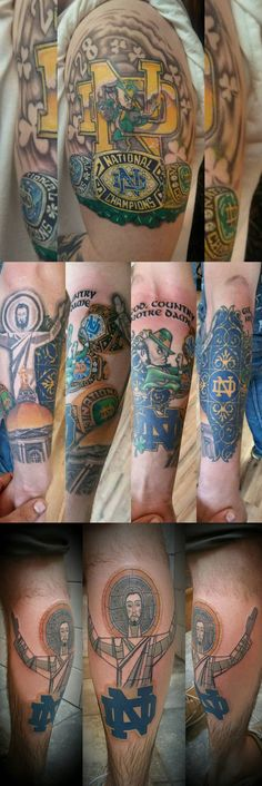 Notre Dame Tattoos on Legion Ink is a Facebook community page for the True Die Hard Notre Dame Fans that show their dedication through permanent Fighting Irish Tattoos. Please share your Notre Dame Tattoo with the community.  FB/LegionoftheLeprechaunInk
