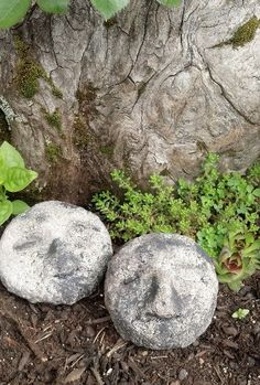 Hypertufa+Garden+Art | Garden face rocks, gnome rocks, hypertufa sculpture, outdoor decor ...