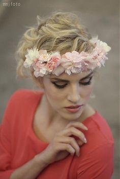 Ozdoby do vlasov - Venček ružovo-biely by Hogo Fogo - Romantic, Handmade, Floral Crowns, Wedding, Accessories, Fashion, Valentines Day Weddings, Moda, Hand Made