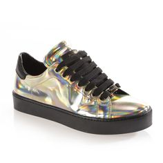 METEORITE SNEAKER ($200) ❤ liked on Polyvore featuring shoes, sneakers, holographic sneakers, synthetic shoes, holographic shoes, hologram shoes and hologram sneakers