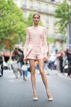 Elen Perminova pretty in blush Elie Saab ensemble | Paris Couture Week 2015 #StreetStyle