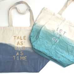 Learn how to create your own dip-dyed Disney Quote bag. Disney Diy, Disney Crafts, Disney Cruise, Diy Tote Bag, Reusable Tote Bags, Diy Bags, Dip Dye Fabric, Disney Tote Bags, Bff