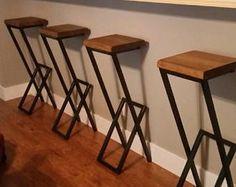 36 Metal & wood stool barstool chair metal stool metal and wood bar stool modern stool kitchen stool counter stool Oak Bar Stools, Bar Stools With Backs, Kitchen Stools, Bar Chairs, Room Chairs, Kitchen Wood, Kitchen Modern, Dining Chairs, Kitchen Black