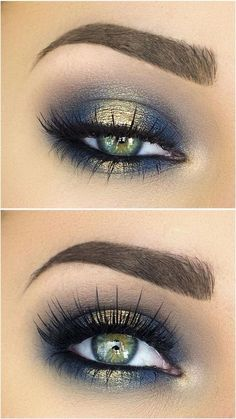 Blue and gold eyeshadow.