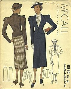 images about Women's Fashion Now, 1930s Fashion, Retro Fashion, Vintage Fashion, Vintage Dress Patterns, Dress Sewing Patterns, Clothing Patterns, Mccalls Patterns, Suit Pattern