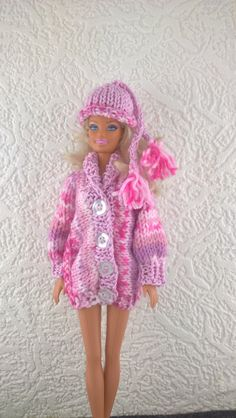 Pink hat and coat for Barbie.Sideways knitted sweater and hat with tassels for fashion doll. OOAK hand knit outfit for 12inch doll. by Nobodyknitsitbetter on Etsy