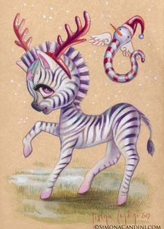 Holly LIMITED EDITION print signed numbered Simona Candini lowbrow pop surreal big eyes art Zebra Reindeer Christmas critter undead forest by SimonaCandini on Etsy https://www.etsy.com/ca/listing/273480932/holly-limited-edition-print-signed