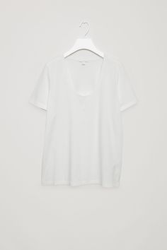 A casual, everyday style, this t-shirt is cut from pima cotton with an extra-soft feel and a deep u-shape, round neckline. A straight, slightly boxy fit, it has short sleeves and neat topstitched edges.