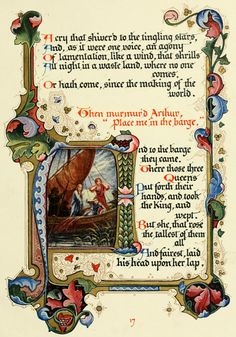 'Morte d'Arthur'  a poem by Alfred Lord Tennyson. Written out and illuminated by Alberto Sangorski. Reproduced by 1912 the Graphic Engraving Company for Chatto & Windus, London.