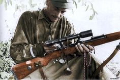German sniper with Mauser rifle