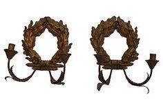 Laurel Wreath Sconces, Pair