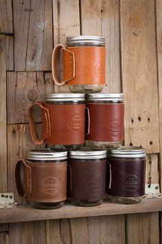 Leather Mason Jar Cozie Leather Sleeve with Handle Leather Mason Jar Wrap Coffee Mug 16 oz Mason Jar Cozy Mug Sleeve Lifetime Leather Co