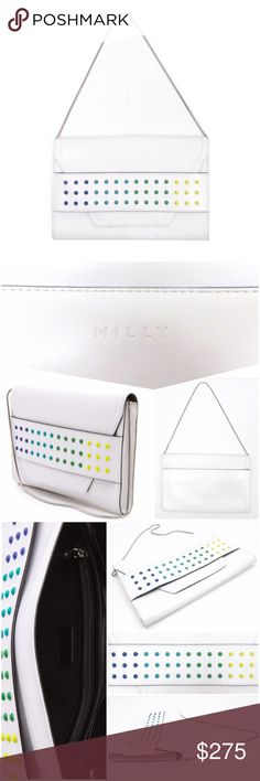 Authentic Milly Digital Dot Clutch New with original tags! Colorful dots add a whimsical pop to this clutch. A magnetic snap secures the exterior pocket, the envelope flap tucks under a wide panel. Lined interior has 2 patch pockets & 1 zip pocket, & snake-chain strap tuck inside when not used. There are two faint marks from storage that I zoomed in on in final photo. One is very small dot on face of bag & the other is a light scratch on top. The dots remind me of candy!    Leather: Cowhide…