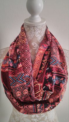 Fall Patchwork Infinity Scarf Woman scarves by ScarvesBuySharon