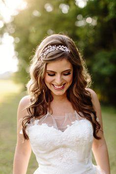 wedding curled hair with headband - Google Search