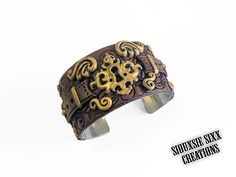 Steampunk Victorian Golden Keyhole Cuff by SiouxsieSixxCreation