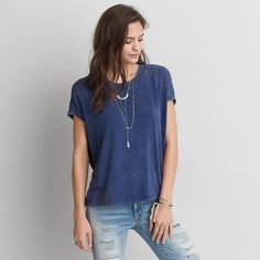 AE Dolman T-Shirt ($25) ❤ liked on Polyvore featuring tops, t-shirts, blue, blue top, low crew neck t shirt, relaxed fit tee, relax t shirt and american eagle outfitters t shirts