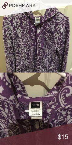 Northface Full Zip Hoodie Womens full zip hoodie. Heavier weight Cotton. Cool purple pattern. Great condition. Smoke free home. The North Face Tops Sweatshirts & Hoodies