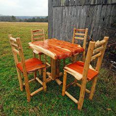 Rustic Cedar Bistro Table Set | www.NianguaFurniture.com