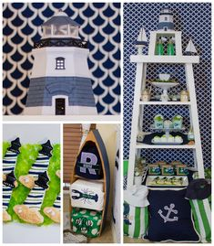 Lighthouse + Nautical themed birthday party with So Many Really Cute Ideas via Kara's Party Ideas | Cake, decor, cupcakes, desserts, printab...