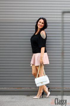 Off-Shoulder Top mit rosa Lederrock - Tellerrock - Leder - Zara_11