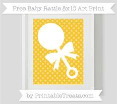Free Saffron Yellow Dotted Pattern Baby Rattle 8x10 Art Print