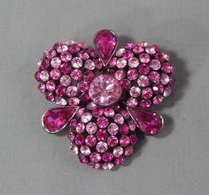 Estate Signed Joan Rivers Pink Fuchsia Rhinestone Brooch Pin