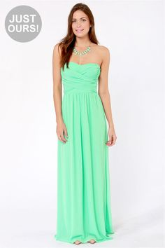 LULUS Exclusive Slow Dance Strapless Mint Maxi Dress