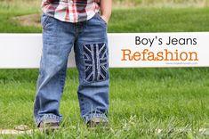 Boy pants refashion (UK flag on leg, similar to Baby Gap style)