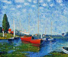 Claude Monet:  Red Boats at Argenteuil - 1875.  Oil on canvas - Musee de l'Orangerie, Paris, France.
