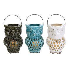 Owl Ceramic Lantern Pinned by www.myowlbarn.com