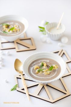 Mushroom Soup with Tortellini Krups Prep Cook, Prep & Cook, Mushroom Soup, Soup Recipes, Stuffed Mushrooms, Coaster, Boards, Food, Stew
