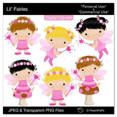 cute fairy clipart digital faeries girl polka dots - Lil Fairies - Digital Clipart - Personal Commercial Use