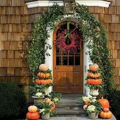 Pumpkin Topiary Front Door