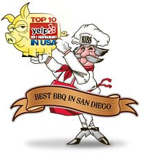Phil's BBQ San Diego, featured on Man vs Food. (Rice bran oil for all frying; onion rings/fries.)