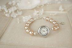 Bronze Pearl Bracelet Watch Beaded Bracelet Watch Bridal Champagne Pearl…