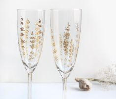 Perfect for wedding champagne flutes bride and groom. I LOVE this etsy shop seller Yevgenia