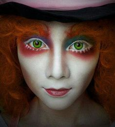 Mad Hatter - white mascara makes the eyes appear wider. Flawless base with minimal contour to draw all attention to the eyes to show that they are mad