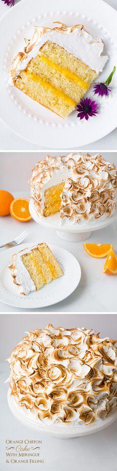 Orange Chiffon Cake with Orange Filling and Meringue - Cooking Classy