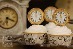 Frohes neues Jahr, 17. Jahrhundert Paris New Years Eve, die druckbare Cupcake Topper Wrapper Set - einfach drucken inspiriert und schneiden,...3,75euro