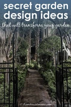 Lots of beautiful ideas for creating a secret garden room in your own backyard. A wrought iron gate looking into a courtyard is something I would love to have in my garden. #fromhousetohome #secretgarden #gardening #gardenideas #outdoorlivingspace #patiosanddecks