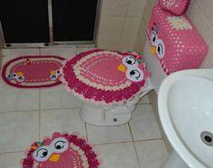 Jogo De Banheiro Coruja Feliz 5 Peças