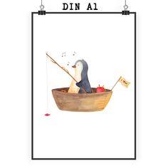 Poster DIN A1 Pinguin Angelboot aus Papier 160 Gramm  weiß - Das Original von Mr. & Mrs. Panda.  Jedes wunderschöne Poster aus dem Hause Mr. & Mrs. Panda ist mit Liebe handgezeichnet und entworfen. Wir liefern es sicher und schnell im Format DIN A2 zu dir nach Hause. Das Format ist 549 x 841 mm    Über unser Motiv Pinguin Angelboot  ##MOTIVES_DESCRIPTION##    Verwendete Materialien  Es handelt sich um sehr hochwertiges und edles Papier in der Stärke 160 Gramm    Über Mr. & Mrs. Panda  Mr…