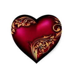 Heart Scroll Red Gold Sticker